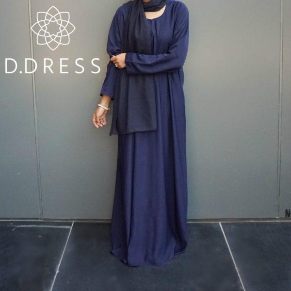 abaya simple classique bleu dubai nisha nidah