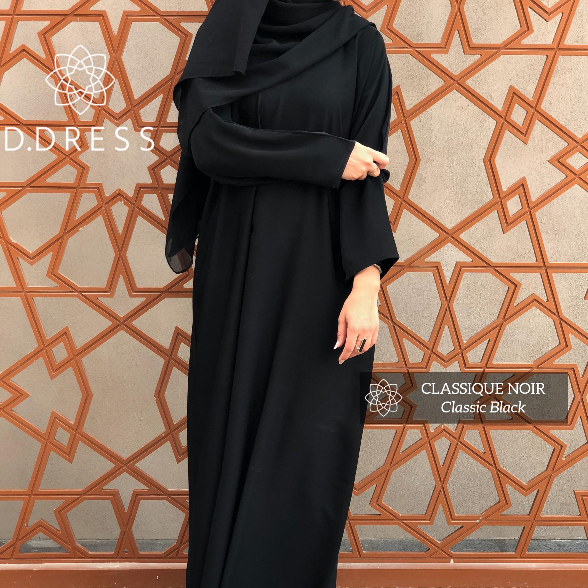 abaya simple noir Dubai nidha nidah classique