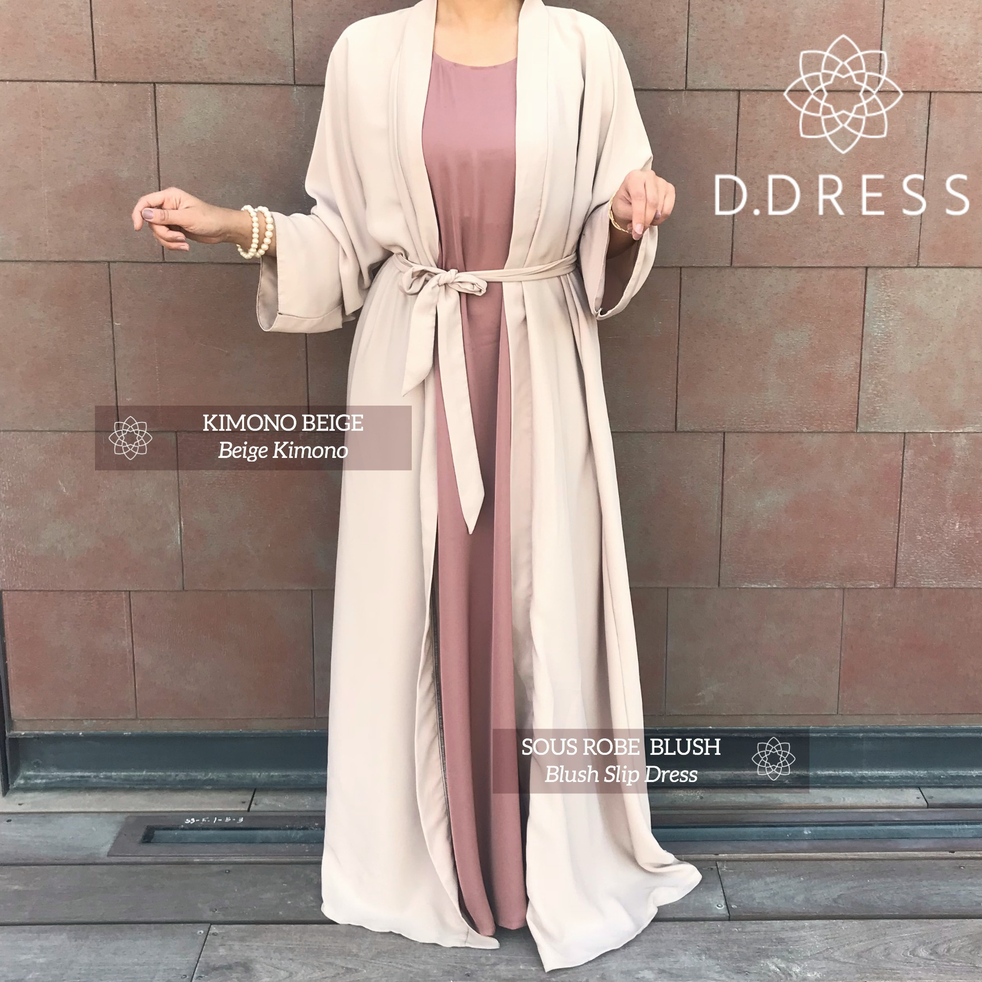 kimono beige nidha nidah Dubai abaya modest insta