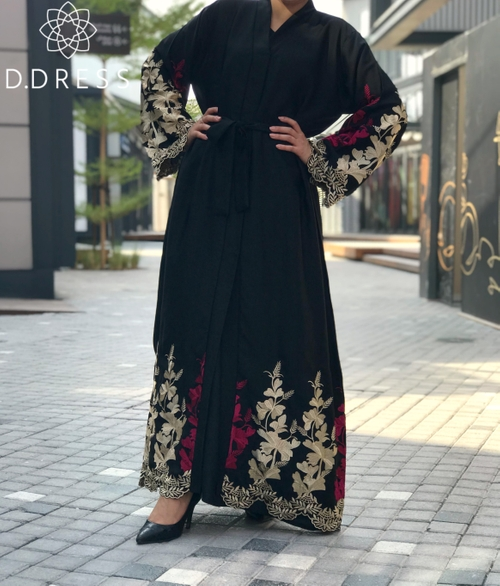 abaya Dubai broderies or fuchsia nidha nidah