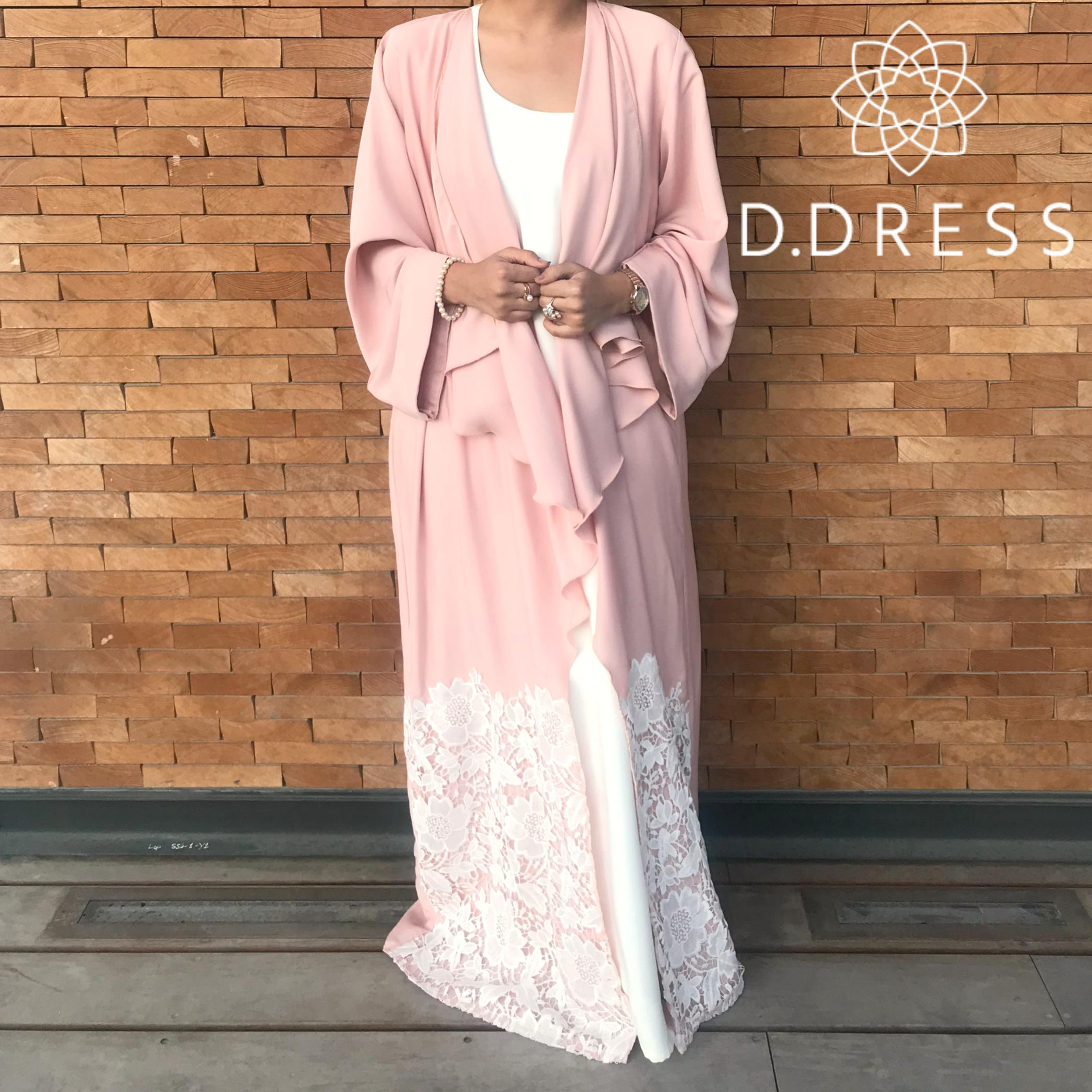DRESSROSA ABAYA DUBAI NIDHA BABY PINK LACE