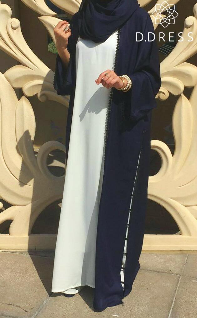 abaya coco bleu nidah blanc brook ddress