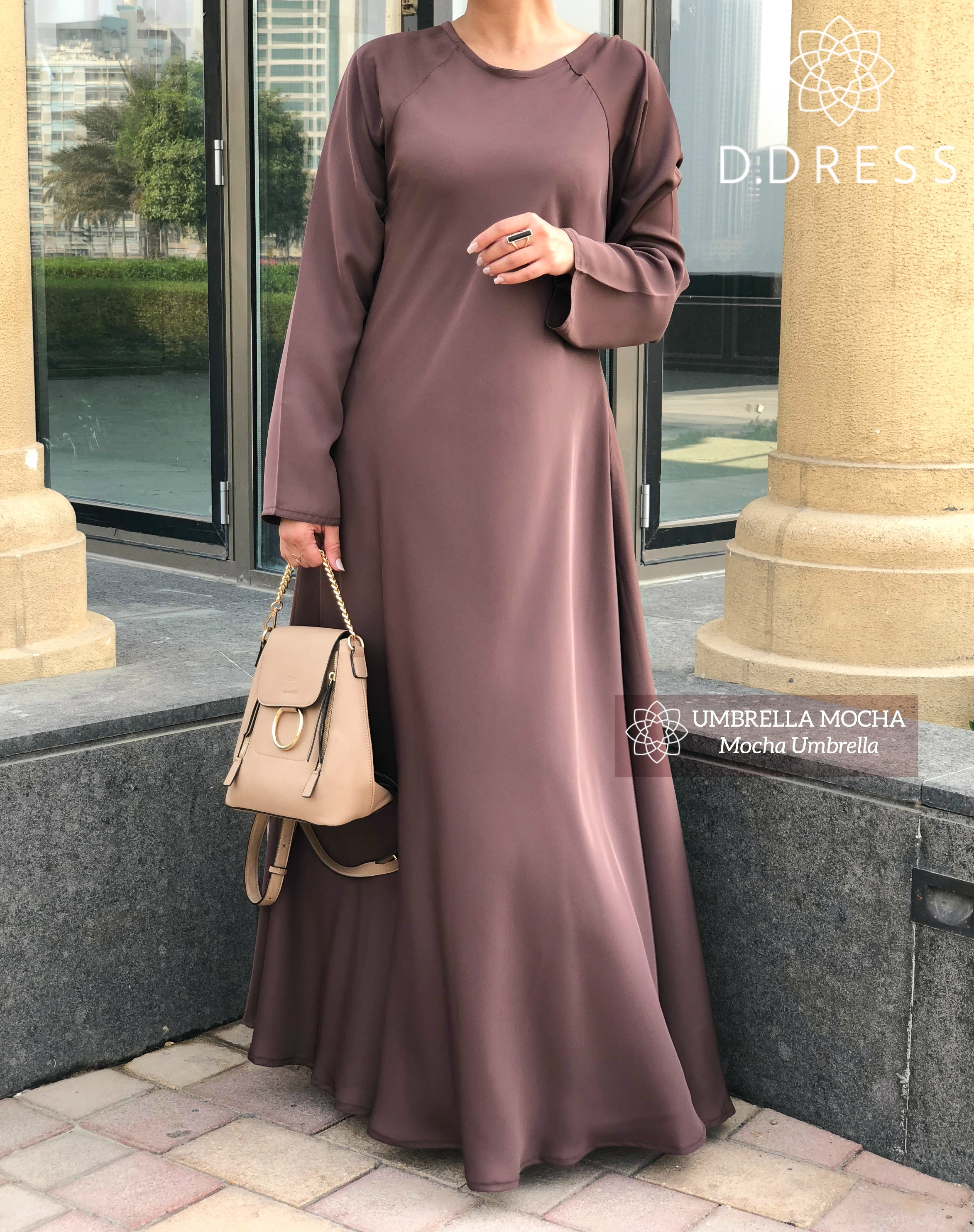 umbrella mocha d.dress niche nidah abaya