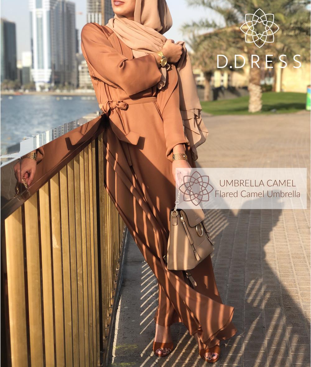 abaya ddress evasee umbrella camel nidah nidha dubai flared