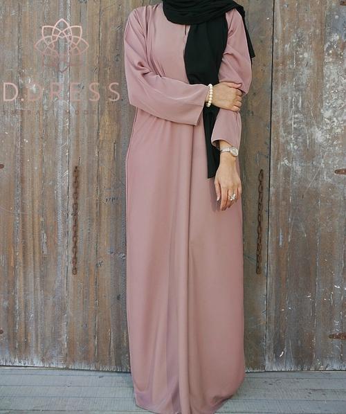 abaya dubai nidha nidah modest blush rose vieux islamique droite