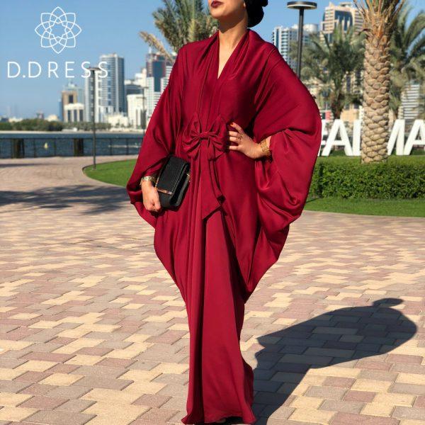 bow abaya nidah red rouge dubai nidah cape farasha