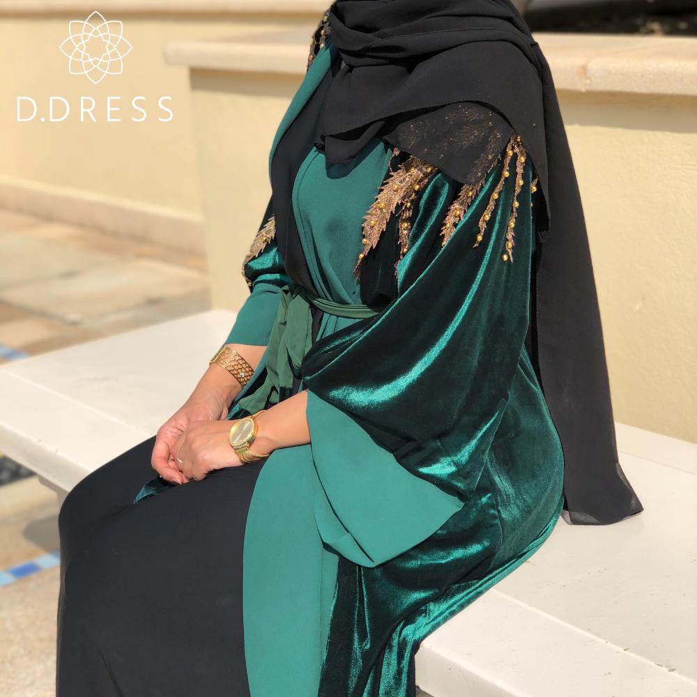 velvet queen vert abaya dubai velours