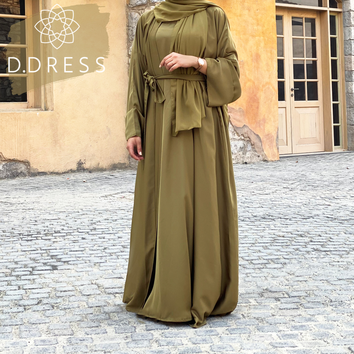 abaya ddress kimono olive nidah dubai