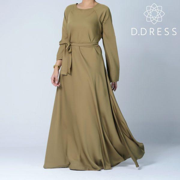 abaya vert olive modest umbrella ddress flared nidah nidha dubai