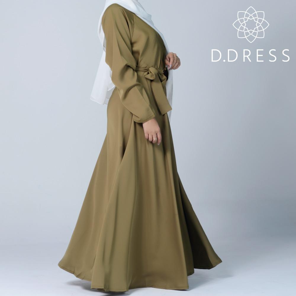 abaya vert olive umbrella ddress flared nidah nidha dubai