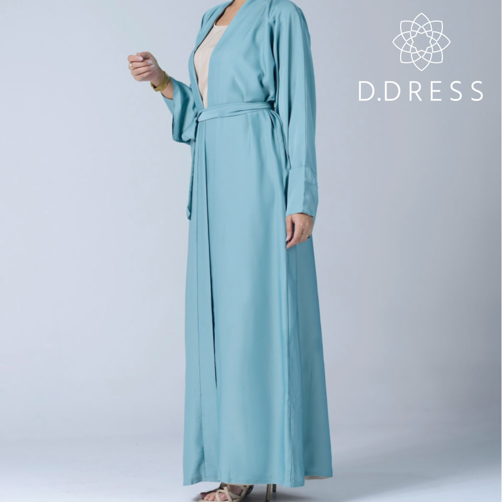 kimono celadon abaya ddress nidah dubai ceinture modest fashion hijab chiffon