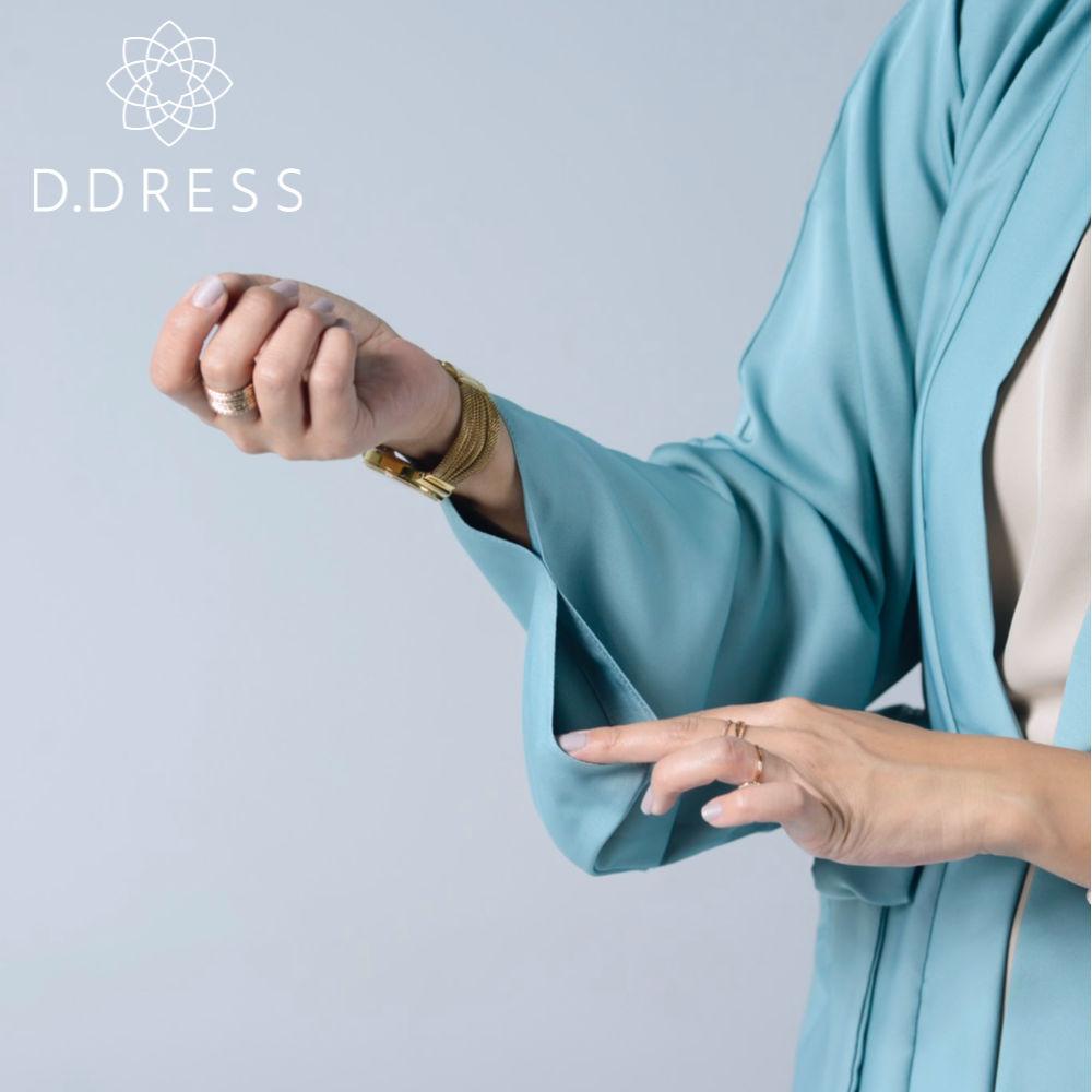 kimono celadon abaya ddress nidah dubai ceinture modest fashion hijab manche detail