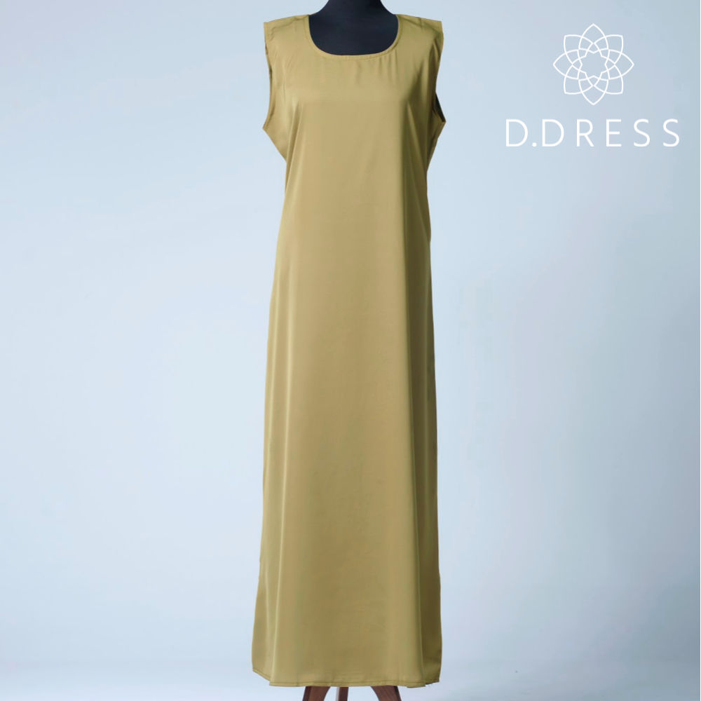 sous robe sans manche olive nidah slip dress abaya ddress
