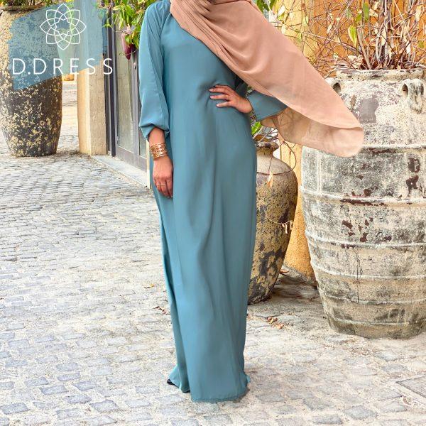 abaya anya ddress droite nidah dubai bleu