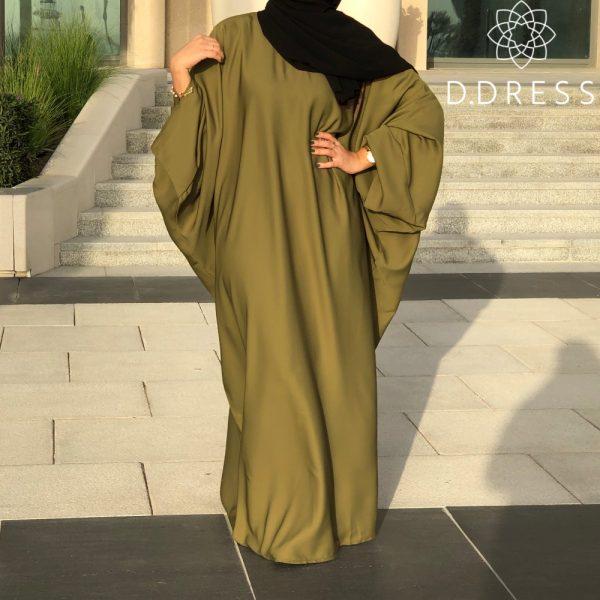 abaya faracha nidah vert olive manches papillon ddress dubai