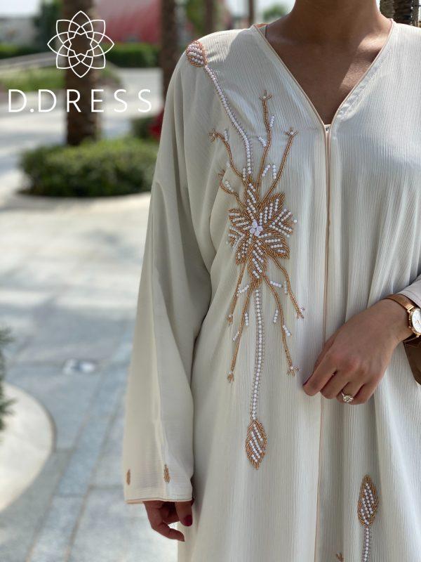 abaya anya ddress zoom blanc cassé perlee
