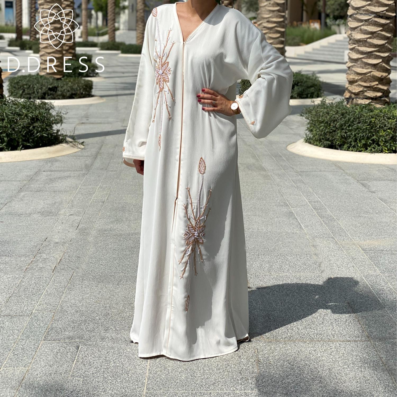 abaya dubai ddress perles blanche anya open