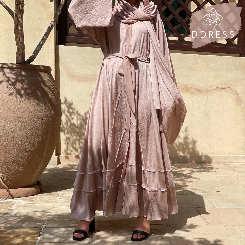Flared abaya hareer anya ddress nude