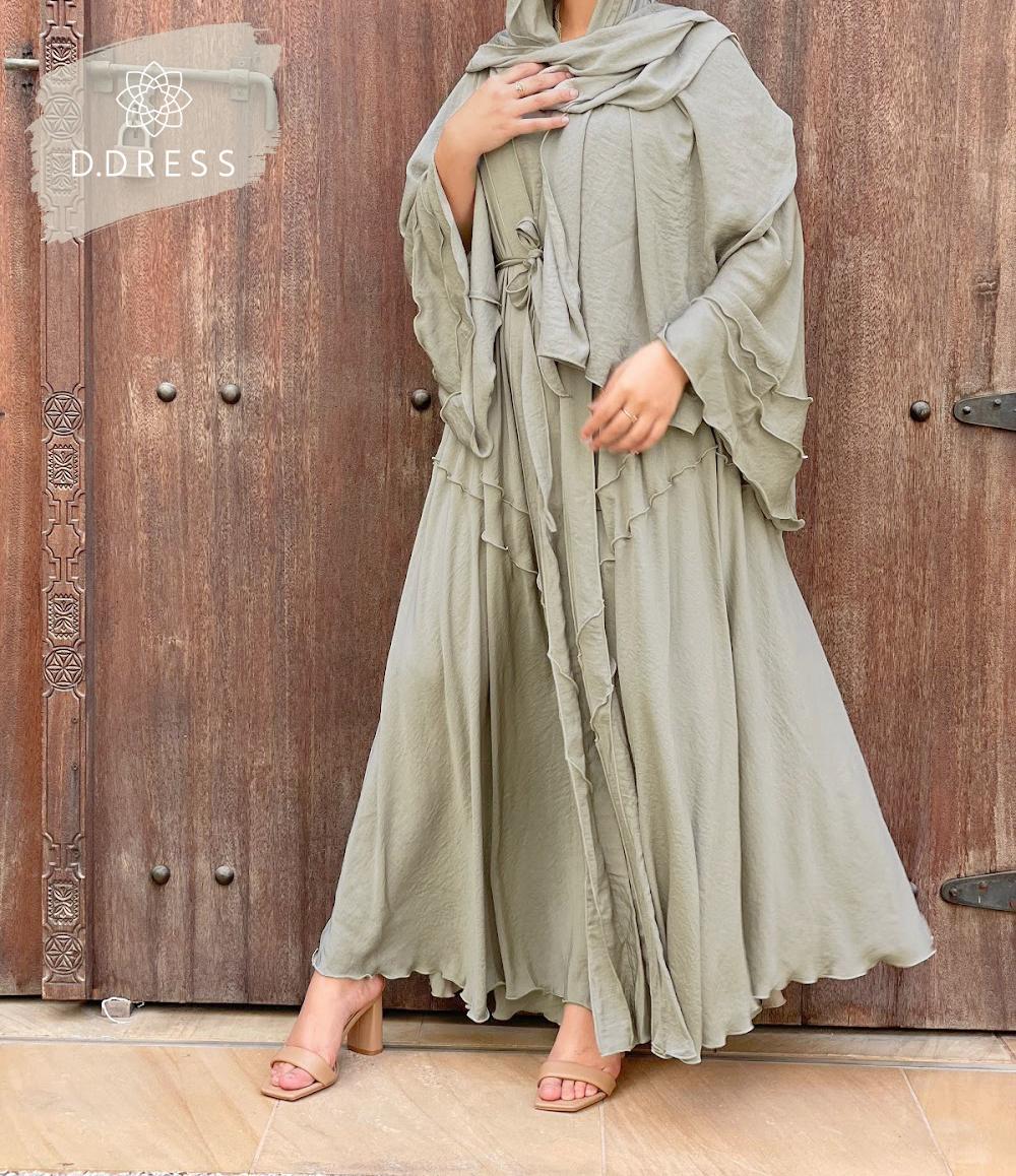abaya anya ddress flared amande evasee vert