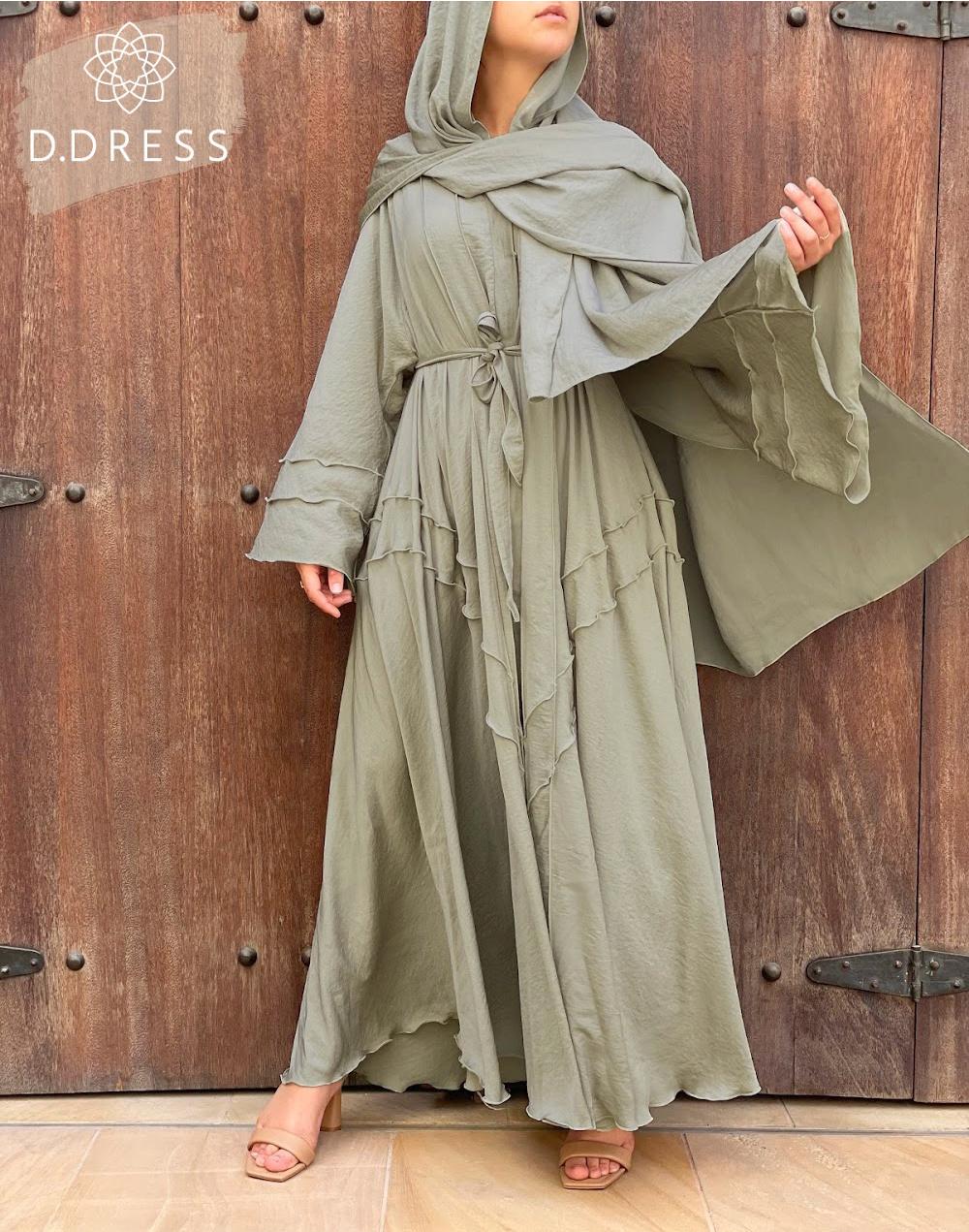 abaya anya ddress flared evasee vert amande-2