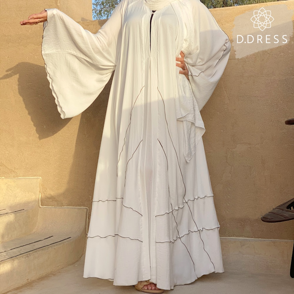 abaya blanche flared ddress