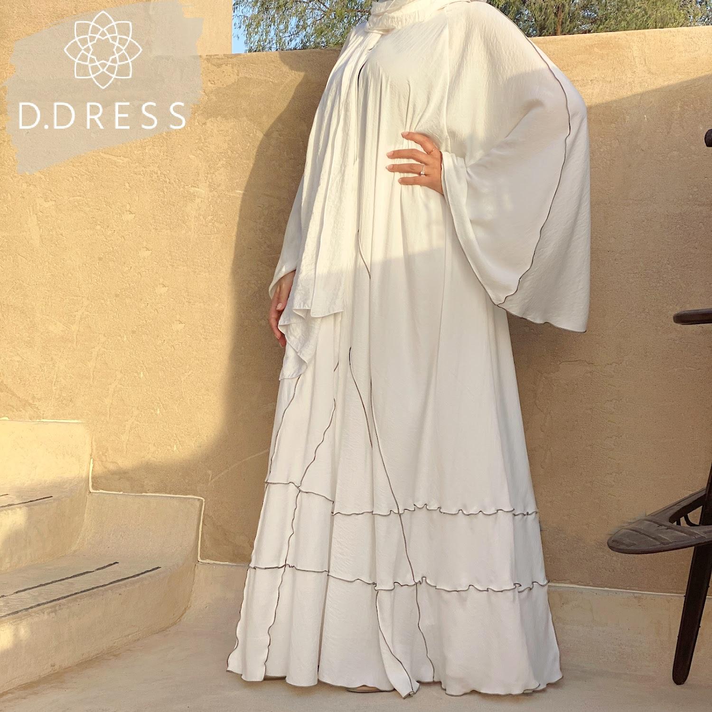 abaya evasee flared blanche