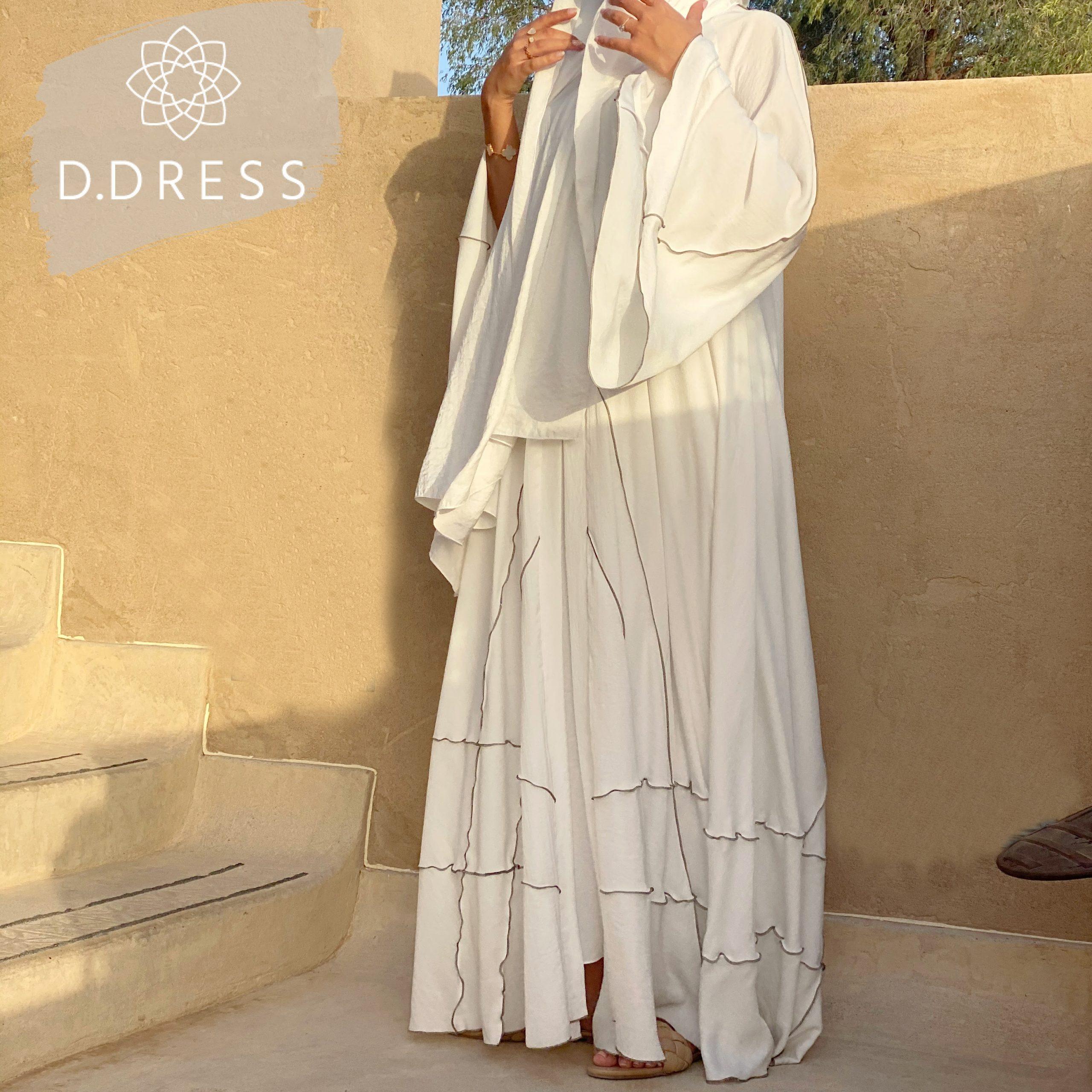 abaya flared evasee blanche ddress