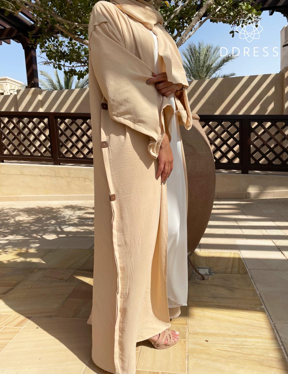 abaya set beige white cy anya ddress