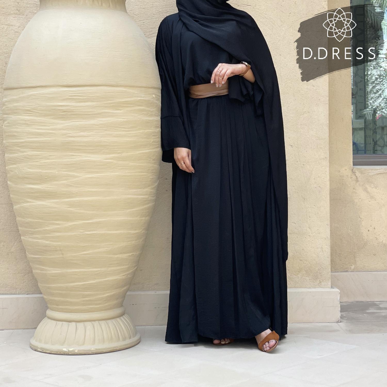 abaya set black anya d.dress noir harir