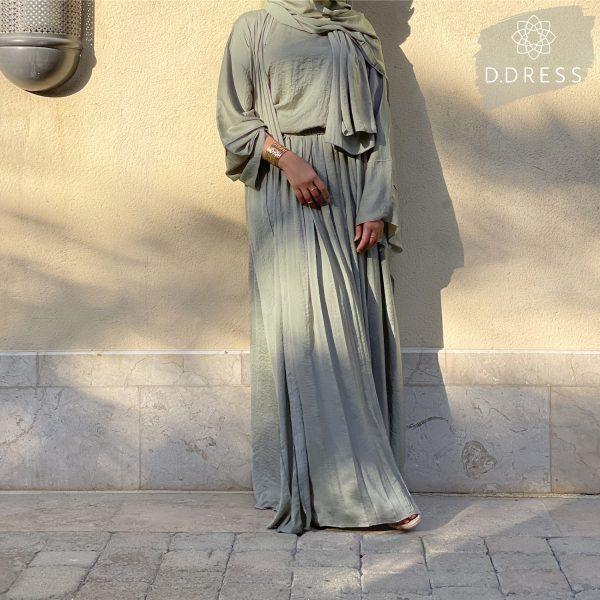 abaya set skirt hareer maqsool anya ddress sage green