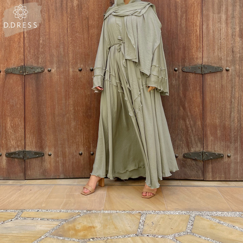 ddress abaya hareer vert amande flared