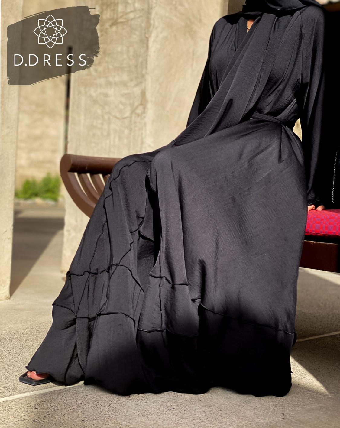 flared hareer abaya anya ddress black-2