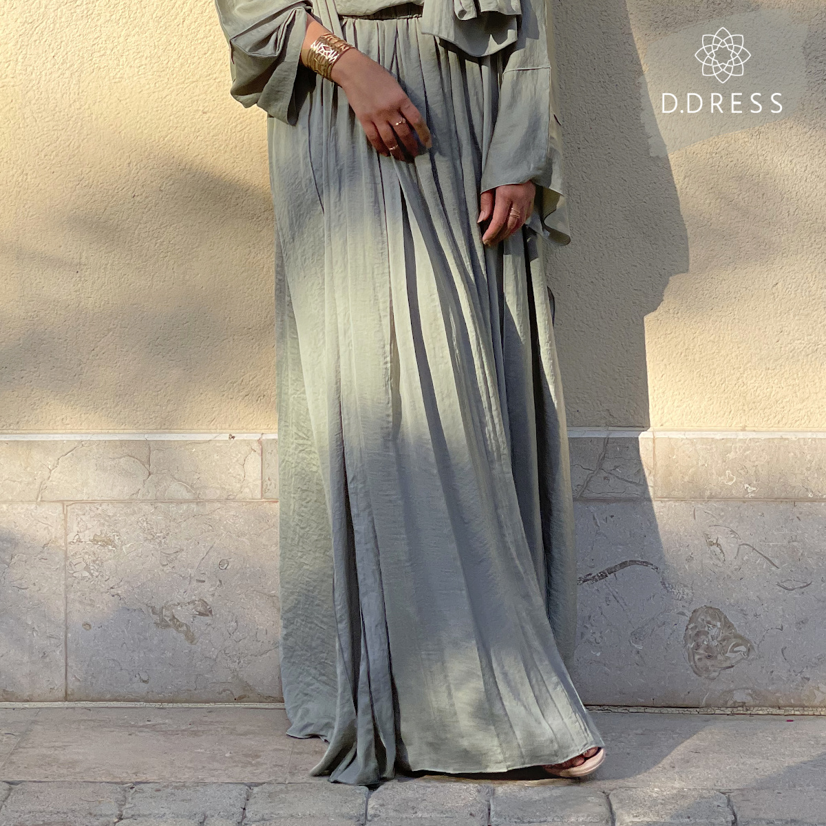 jupe skirt hareer abaya ddress sage green