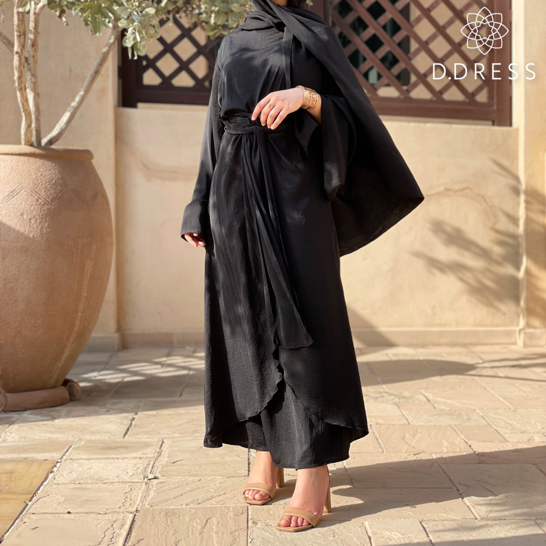 robe wrap abaya anya ddress noir